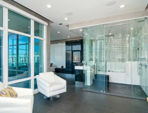 Penthouse San Diego Shower and Living Area