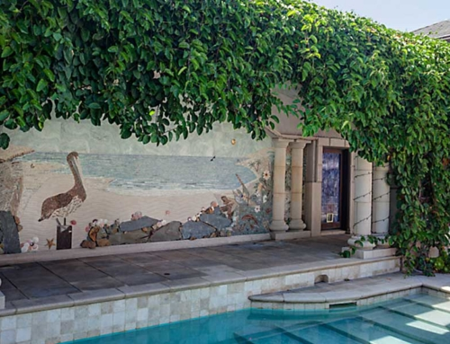 Custom Mosaic Pool Wall Detail