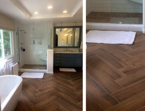 Bathroom Wood Look Floor Tile and Shower