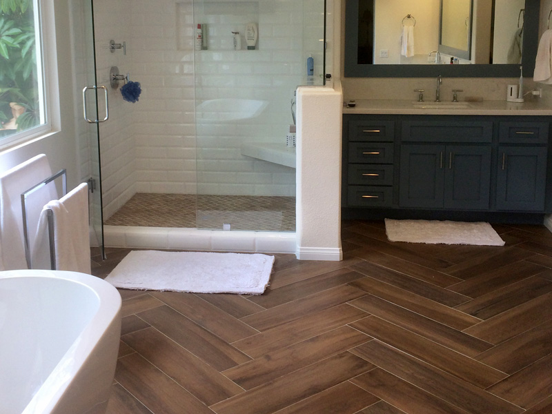 Wood Look Floor Tile and Shower