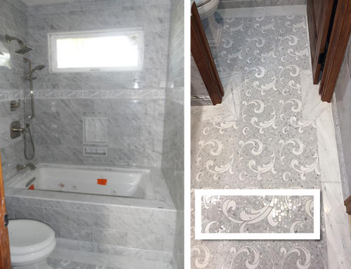 Carrara Tile Bathtub and White Mosaic Floor