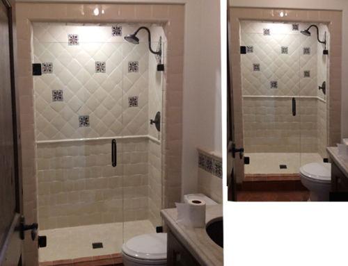Custom Shower Tile Design in Tan and Cream