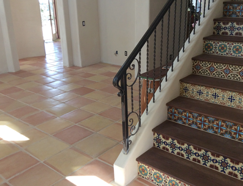 Terracotta Tile Flooring with Custom Tile Design Stairs
