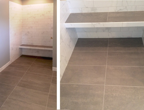 Bathroom Two Tone Floor and Shower Tile
