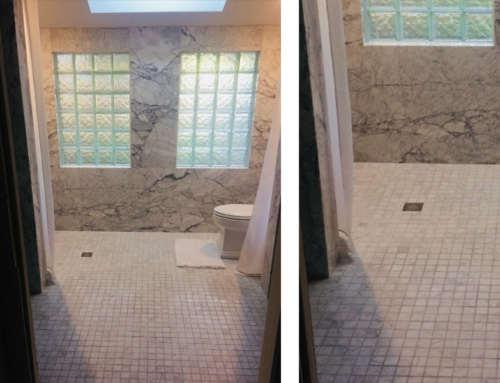 Bathroom marble-tile-design with Glass Block